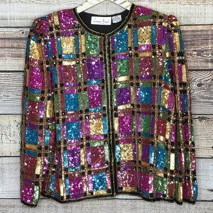 Laurence Kazar Vintage Sequin Jacket Small Silk